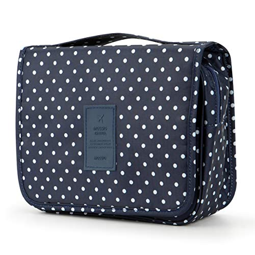 Travel Toiletry Bag,Mossio Airplane Backpack Tote Organizer Insert with Handle Polka Dot