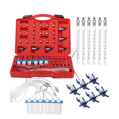 MR CARTOOL 24pcs Universal Automotive Diesel Injector Flow Diagnostic Tool Kit, 6 Cylinder Common Rail Diesel Injector Fuel Line Tester Fuel Injector Inspection Tool Kit for All Vehicle