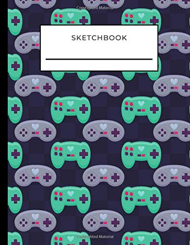 Sketchbook: Video Game Controller Pattern on Navy Blue Cover / Unruled Unlined Paper / 8.5x11 Inches, Notebook Size / Design Book / Great Gift for Creatives, Artists and People Who Love To Draw