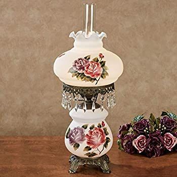 Touch of Class Olivia Jane Hurricane Table Lamp - White - Antique Brass Metal Base Acrylic Crystal Gems Glass Scalloped Shade - Vintage Bedroom Aesthetic Victorian Style Lamps - 24 Inches High