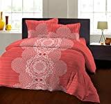 Bombay Dyeing 104 TC - Cotton Double Bedsheet with 2 Pillow Covers (Gajari)