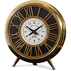 Decorative Aluminum/ Brass/Steel Table Clock (DH10009) | Antique Mantle Clock for Home Decor | Small Round Clock for Office Desk, Study Table.