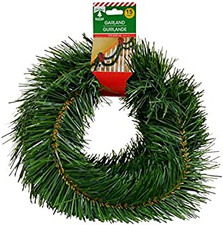 Merry Christmas Soft Pine Garland Celebrate a Holiday Decor 15 feet Decorative Green Outdoor or Indoor Use Non lit Home Garden Porch Stair Hanging Artificial Greenery Wedding Party Doorway Decorations
