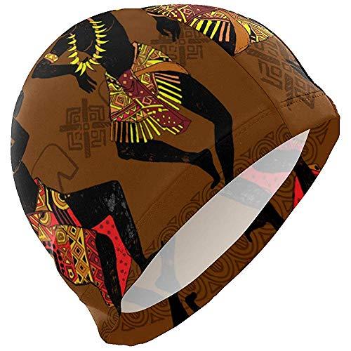 Kay Stowe Gorro de baño Africano Egipto Gorro de natación Cubierta Orejas Gorro de baño Antideslizante para Hombres