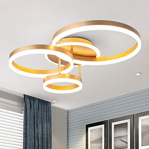 Moderna lámpara LED de techo, con anillo dorado cepillado envejecido, 66 W, con pantalla acrílica, para sala de estar, comedor,...