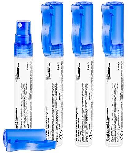 newgen medicals Desinfektion: 4er-Set Hand- & Flächen-Desinfektionsspray im Zerstäuber, alkoholfrei (Desinfektionsspray Hände unterwegs)