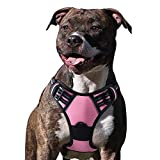 Eagloo Dog Harness No Pull, Walking Pet Harness with 2 Metal Rings and Handle Adjustable Reflective Breathable Oxford Soft Vest Easy Control Front Clip Harness Outdoor for Medium Dogs Pink