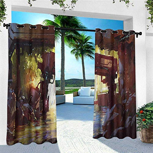 leinuoyi Industrial, Outdoor Curtain Ends, Watercolor Artwork Futuristic Forest Old Machine in Deep in The Woods Waterfall, for Gazebo W96 x L108 Inch Multicolor