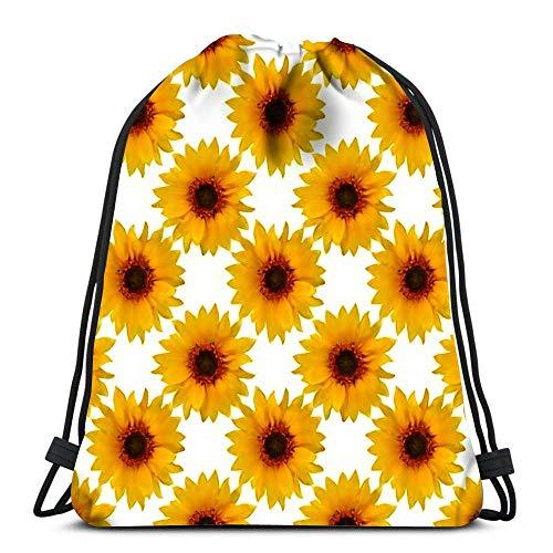 Lsjuee Backpack Drawstring Bag Flowers Floral Drawstring Hiking Backpack Gym Bag
