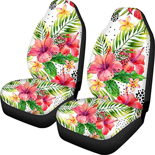 Guwafa8 Hawaiian Hibiscus Flower Pattern Seat Covers for Cars Auto Aztec Tribal Comfort Car Seat Protector Cushion Bags Fabric Bench Car Seat Cover Universal for SUV Sedan Truck