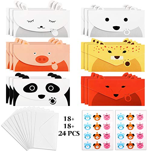18 Pieces Animal Cartoon Greeting Card Cute Invitation Cards Writing Stationery Paper with 18 Pieces Envelopes and 24 Pieces Animal Stickers (Classic Style)