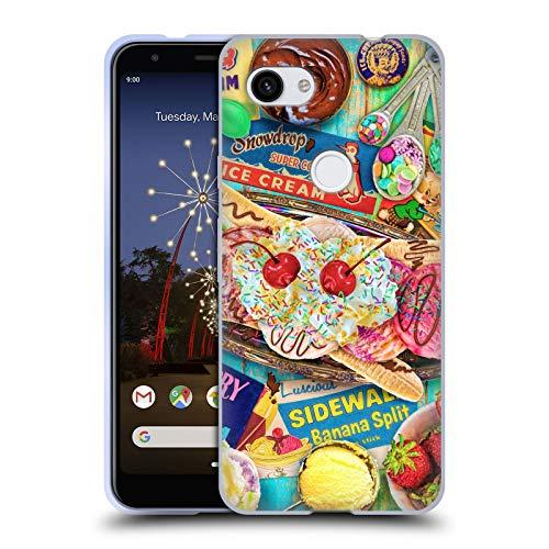 Officiële Aimee Stewart Banaan Split Kleurrijke snoepjes Soft Gel Case Compatibel voor Google Pixel 3a