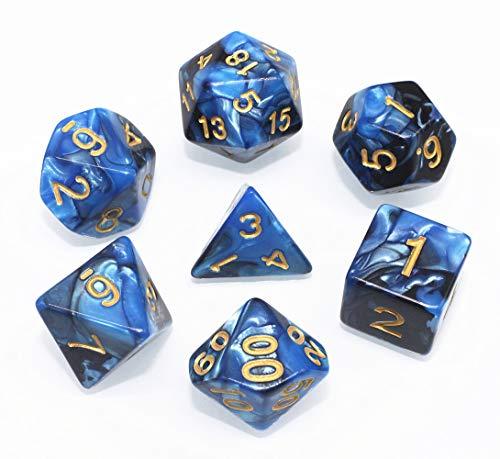 Blau Schwarz DND Polyedrische Würfel Set für Dungeons und Dragons D&D Pathfinder RPG MTG Rollenspiel Doppel-Farben Dice mit Würfelbeutel