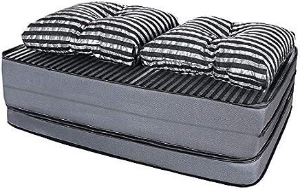 Puff Multiuso 3 Em 1 Casal Jacquard Preto + Travesseiro