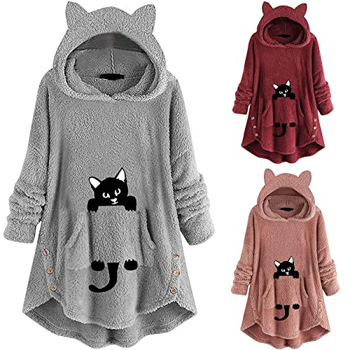 Women's Trendy Pullover Hoodies Dress Fall Winter Cat Ear Fleece Fuzzy Long Sleeve Sweater Teen Girls Tops with Pocket Gray