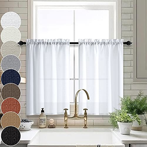 White Cafe Curtains 24 Inch Length Kitchen Window Curtains Sets of 2 Pack Rod Pocket Tier Light Filtering Semi Sheer Short Curtains for Small Windows Bathroom 32 x 24 in Long