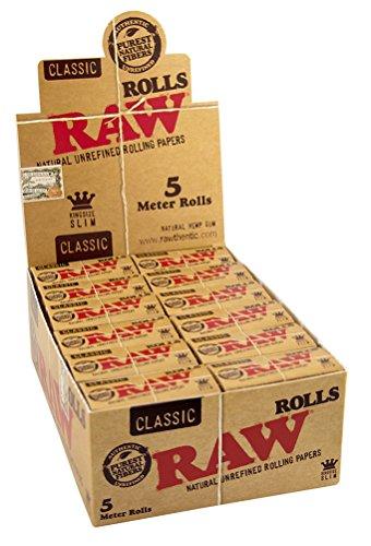 RAW Classic Rolls Slim 5m Länge ungebleicht 3 Boxen (72x Rolls)