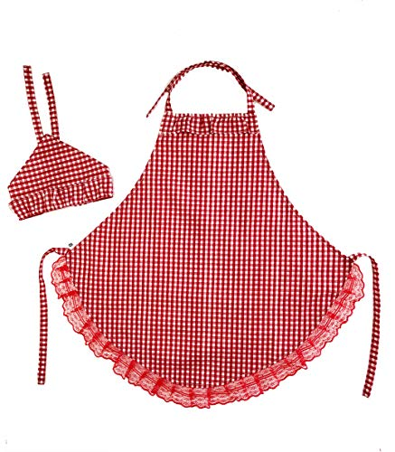 Kids Cotton Apron with HeadscarfChild Adjustable Kitchen Buffalo Check Plaid Apron for Toddler Girl Cooking Baking Painting Crafting2-3 YearsRed