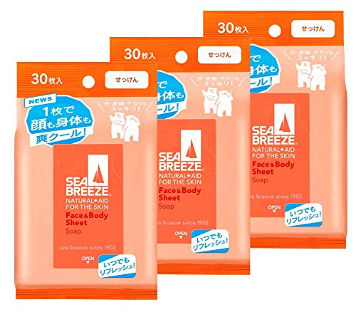 【まとめ買い】SEABREEZE(シーブリーズ) シーブリーズ フェイス&ボディシート せっけん 30枚×3個 3個セット