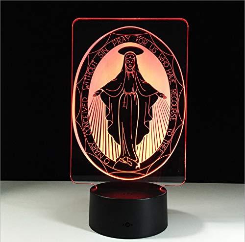 2018 regalos de acción de gracias Virgen María Luz nocturna 3D Toque luces LED coloridas Lámpara de mesa USB