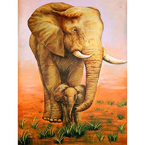 Chermeen 5D Diamond Painting Elefante Redondo Rhinestone, Bricolaje Kit De Pintura De Diamante Pintura Punto De Cruz Artes Manualidades Lienzo Pared Decoración 50x65 cm