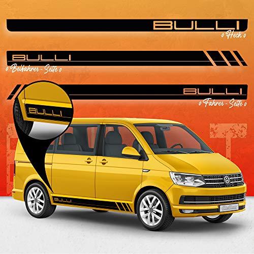 Auto-Dress® Seiten-Streifen Aufkleber Set/Dekor passend für VW T4, T5 & T6 Bus in Wunschfarbe - Motiv: Bulli R (070M Schwarz-Matt, Radstand : kurz)