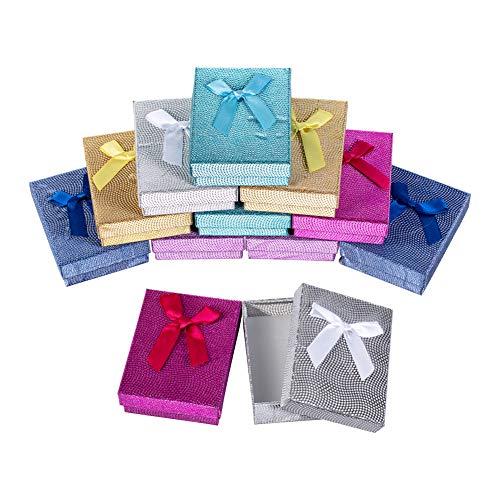 nbeads Boîte de Papier Rectangle, 12 Boîte de Cadeau en Carton avec Une Éponge Blanche, Couleur Mixte, 9 × 7 × 3 cm