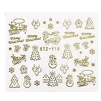 1ピースゴールドシルバー水転写ネイルアートステッカークリスマス3dデザインブロンズヒントクリスマススノーフレークデカールデコレーションSASTZYA-1 Y18ゴールド