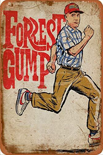 None Brand Cartel de chapa con texto en inglés 'Don't stop run' de Forrest Gump Don't Stop Run' para decoración del hogar, vintage, retro, decoración de pared, bar, pub Club