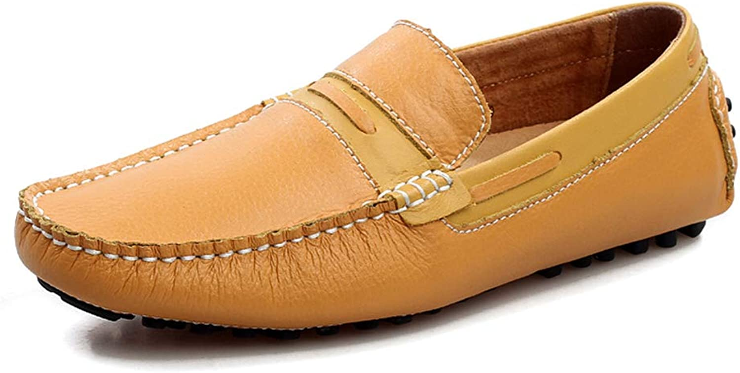 Men's Comfort Loafers Leather Spring Summer Comfort Loafers & Slip-Ons Black Yellow Dark bluee