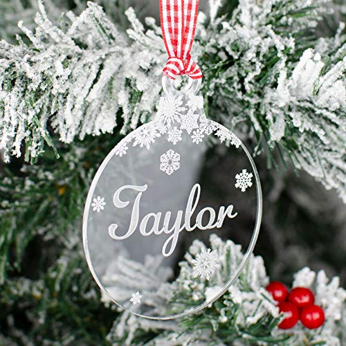 Rustic Charm Personalised Christmas Tree Decoration Clear Acrylic. Xmas Gift With Engraved Name. Bauble Snowflakes Decor.