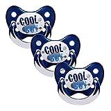 Dentistar® Schnuller 3er Set - Baby Nuckel Silikon in Größe 2, 6-14 Monate - zahnfreundlich & kiefergerecht - Beruhigungssauger für Babys - Made in Germany - BPA frei - Blau Cool Boy