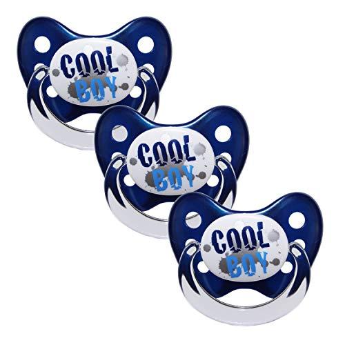 """Dentistar Silikon Schnuller im 3er-Set – Größe 2 6-14 Monate – Zahnfreundlicher und kiefergerechter Silikonschnuller mit Dental-Stufe – Blau mit """"Cool Boy""""-Motiv – BPA-frei – Made in Germany"""