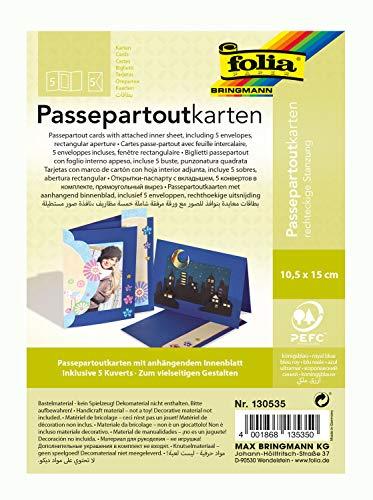 folia 130535 - Passepartouts mit rechteckiger Stanzung, ca. 10,5 x 15 cm, 5 Karten (220 g/qm) und Kuverts, königsblau - ideal für Einladungen, Glückwunsch- oder Grußkarten