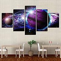 5ピース惑星風景壁アート写真ベッドサイド背景アートワークポスターモジュラーキャンバス絵画HDプリント家の装飾-4x6/8/10inch With frame