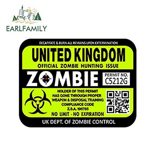 PJYGNK Sticker de Carro 15 cm x 10 cm Estilo de Coche Reino Unido permisos de Licencia de Caza de Zombis Pegatina Impermeable para Coche Accesorios para Maletero de Parachoques