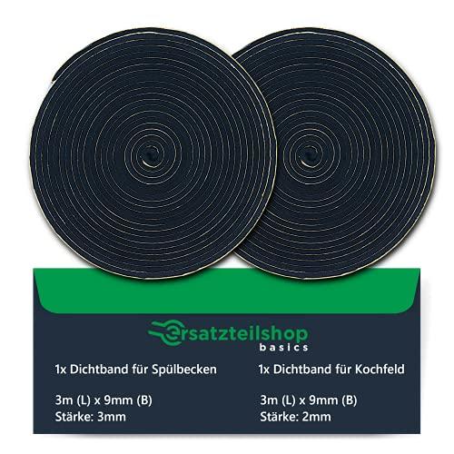 Dichtband SET zur Montage von Spülbecken und Kochfelder - 2x 3 Meter Montageband: 9mm(B) x 3mm(D) für Spülen & 9mm(H) x 2mm(H) für Kochfelder