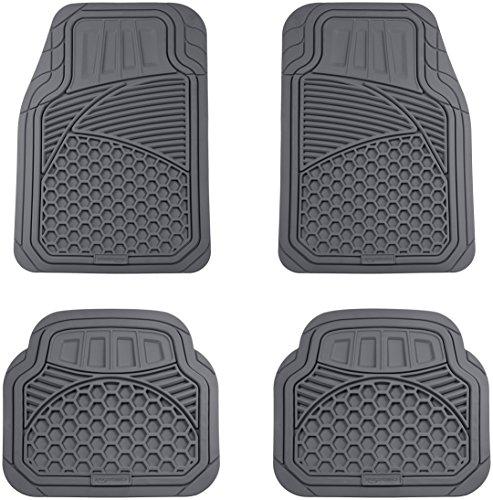 AmazonBasics 4 Piece Heavy Duty Rubber Car Floor Mat, Grey
