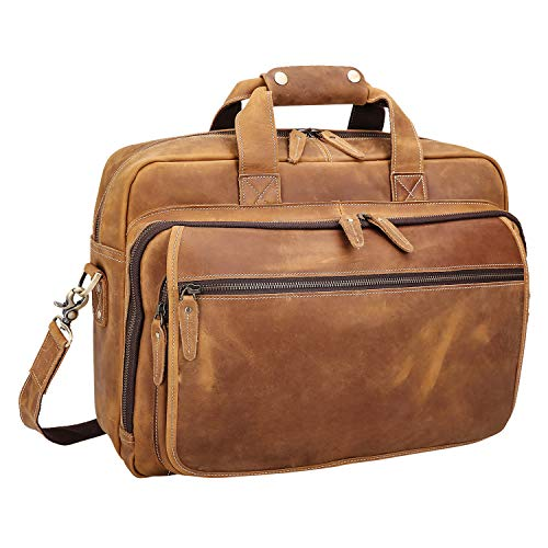 Polare Men's Full Grain Leather 17' Laptop Briefcase Shoulder Bag with YKK Metal Zippers
