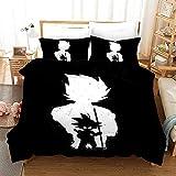 ZKDT Ropa de cama Dragon Ball Goku microfibra negra funda nórdica funda de almohada (negro, 200 x 200 cm + 50 x 75 cm x2)