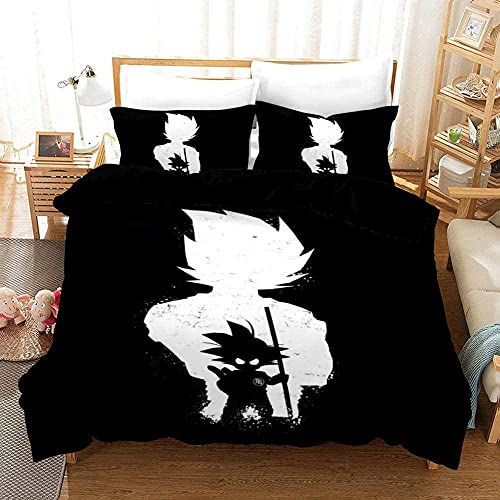 ZKDT Ropa de cama Dragon Ball Goku microfibra negra funda nórdica funda de almohada (negro, 135 x 200 cm + 50 x 75 cm x2)