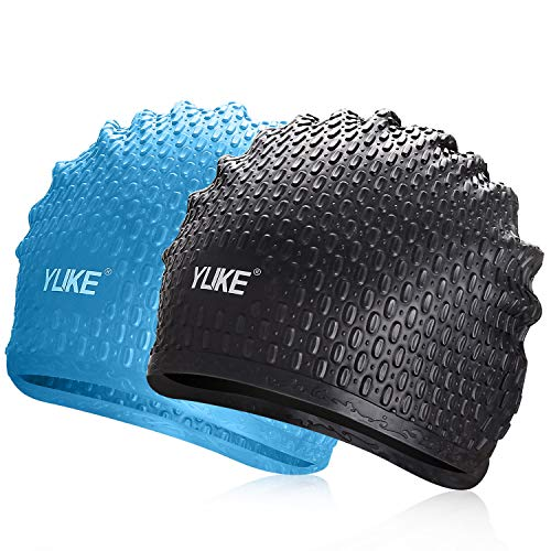 TOBWOLF Solide Silikon Badekappe, 3D ergonomisches Design Duschhaube Abdeckung Ohr für Dreadlocks, Gewebe, Haarverlängerungen, Zöpfe, Locken & Afros (schwarz & blau)