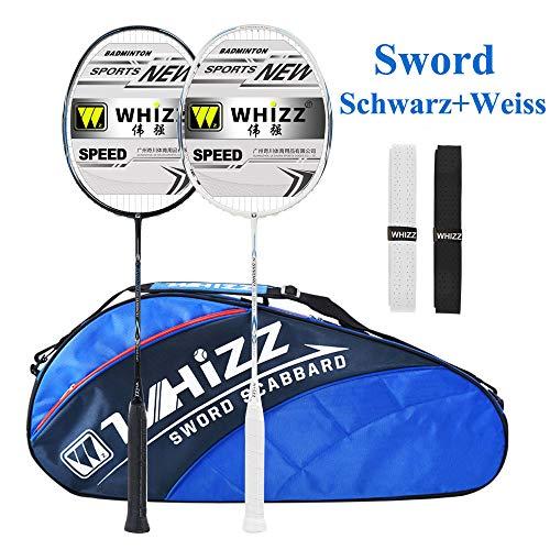 Whizz Kratzfestes Design Badminton Schläger Racket Set mit Tasche Griffband, 100% Graphit (Sword Schwarz+Weiss)