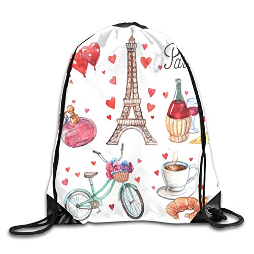 Fuliya Drawstring Backpack Bag for Men Women,Paris Illustration Of Hearts Eiffel Tower Red Wine Coffee Perfume Romance Themed,Great for Yoga, Travel, Hiking, Beach Bags