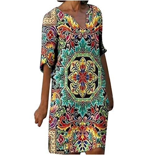 Dasongff Vestido básico para mujer, informal, línea A, estilo étnico, para el tiempo libre, minivestido fluido, manga larga, camiseta suelta, cuello redondo, túnica, vestido de noche.