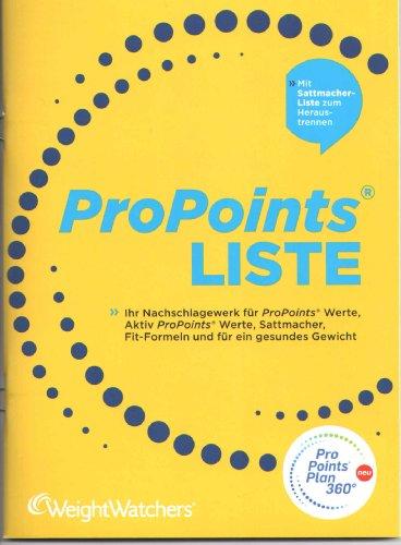 Weight Watchers ProPoints Liste 2.0 2012. Mit Sattmacher-Liste zum Heraustrennen und Aktiv ProPoints Werte für Bewegung