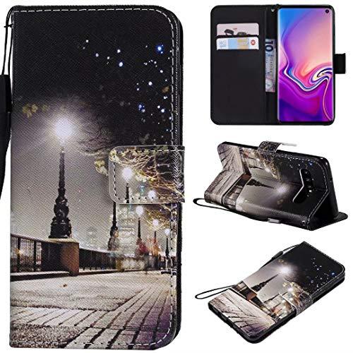 Miagon Flip PU Leder Schutzhülle für Samsung Galaxy S10,Bunt Muster Hülle Brieftasche Case Cover Ständer mit Kartenfächer Trageschlaufe,Stadt Szene