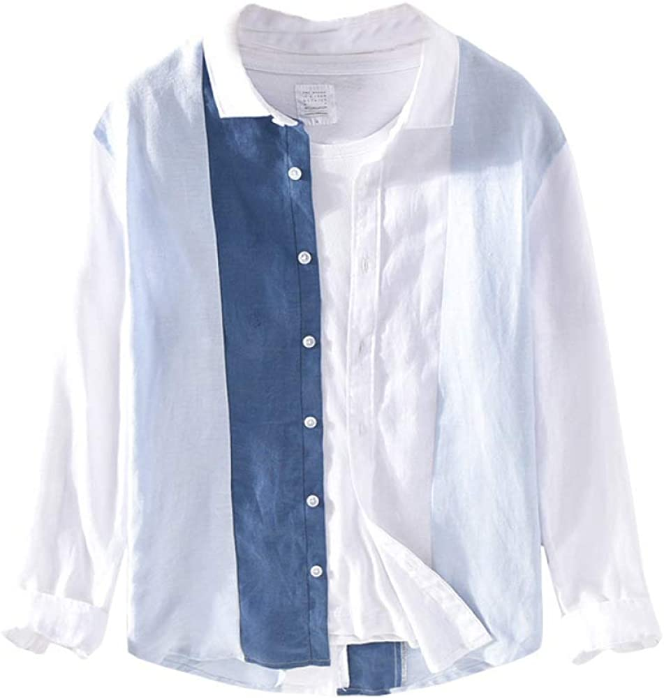 Men's Cardigan Personality Fashion Contrast Stitching Casual Square Collar