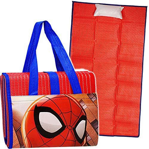 alles-meine.de GmbH Strandmatte / Strandunterlage mit Kissen - Ultimate Spider-Man - 75 cm * 150 cm - Faltbare Picknick Decke / als Unterlage Isomatte - Nackenrolle Gartenmatte B..