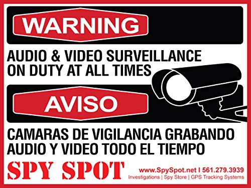 6 Pack Decal Self Adhesive Audio & Video Sign Vinyl Weatherproof Resistant CCTV Surveillance Stickers English/Spanish Security Logo
